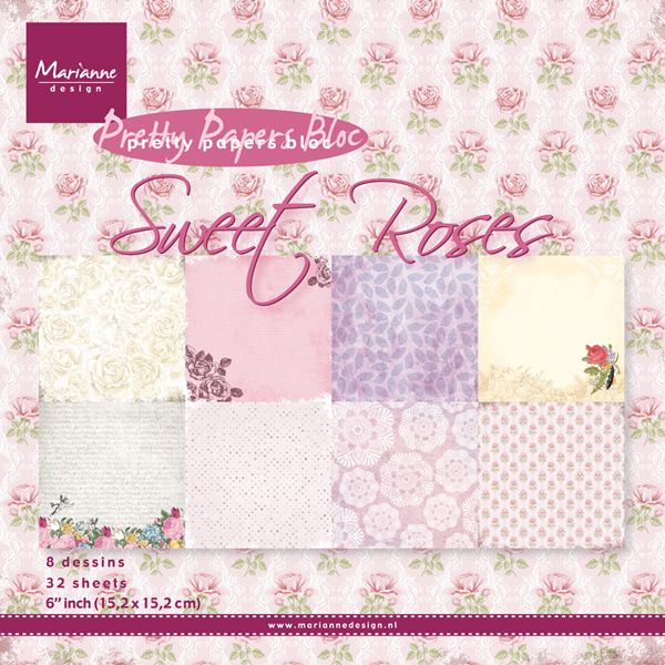 PK 9123 ~ SWEET ROSES ~ Pretty Papers Bloc ~ Marianne Designs