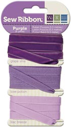 PURPLE - We R Memory Keepers Sew Ribbon set of 3 Ribbons