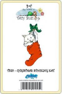 TB20  ~ Tatty Button CHRISTMAS STOCKING KAT ~ stamp