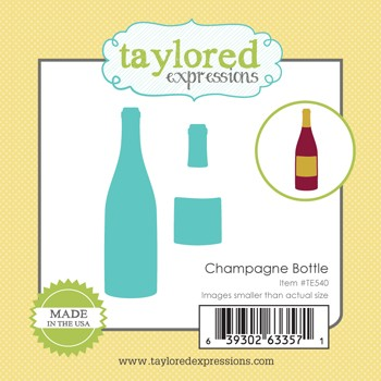 TE540 ~ LITTLE BITS - CHAMPAGNE BOTTLE ~ dies by Taylored Expressions