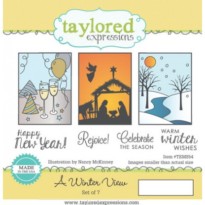 TEMS054 ~ A WINTER VIEW ~ set 7 stamps ~ Taylored Expressions