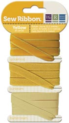 YELLOW - We R Memory Keepers Sew Ribbon set of 3 Ribbons